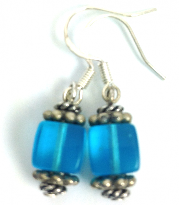 blue french lantern earrings