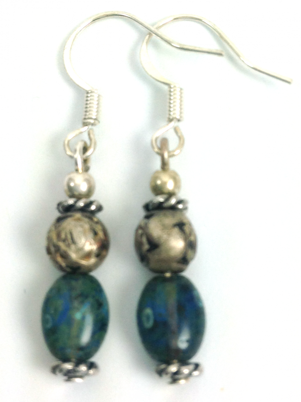 bluegreen silver drop earrings