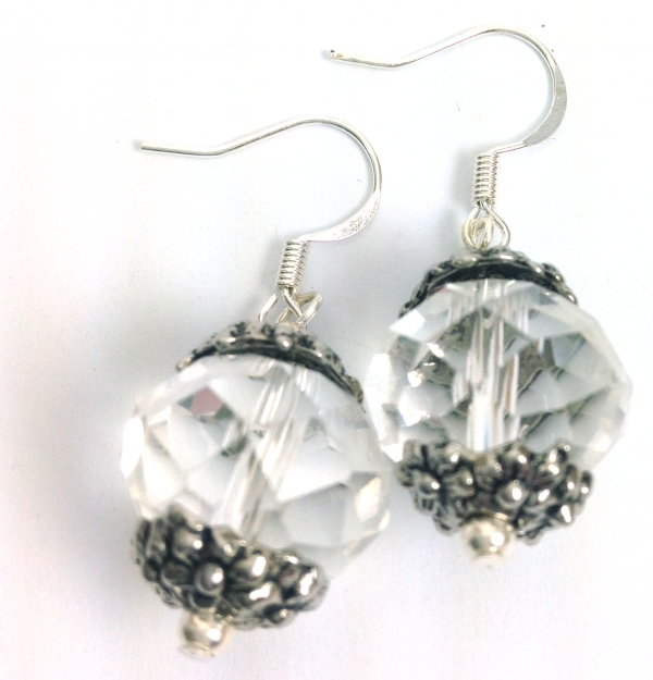 crystal ball large flower earrings