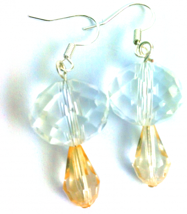 crystal ball orange drop earrings