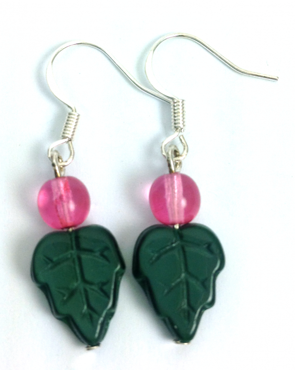 green pink leaf earrings