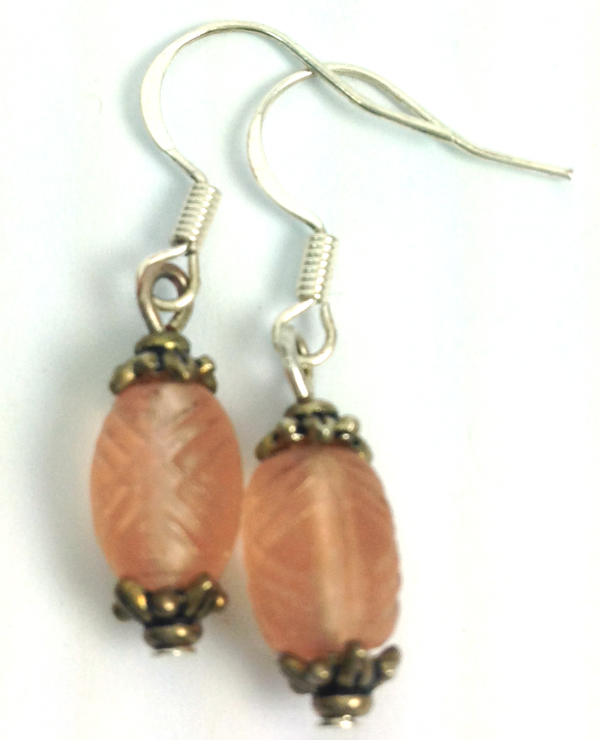 pink french lantern earrings