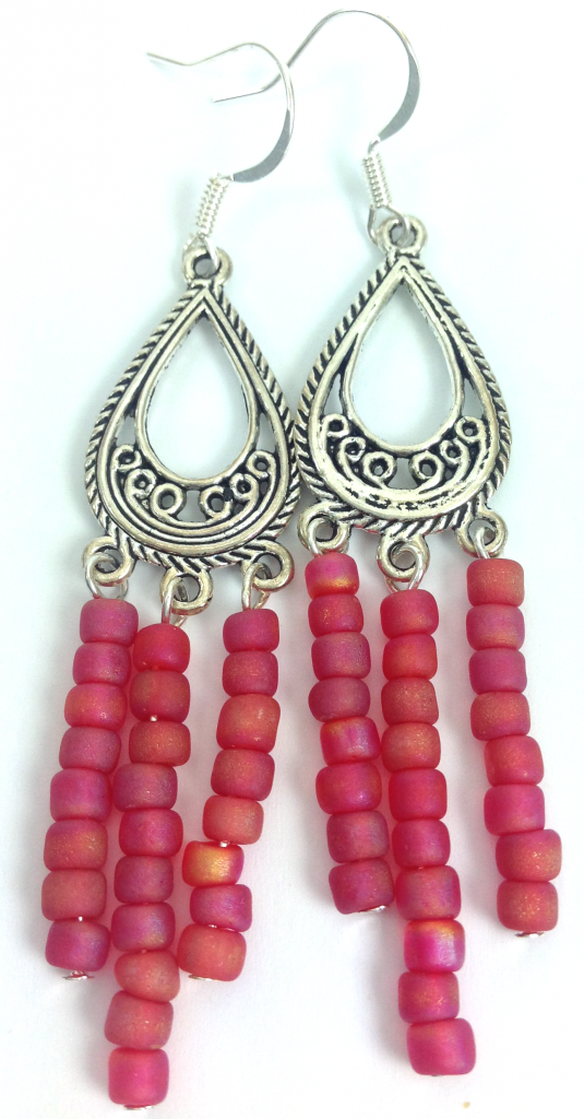 pink silver dangle earrings