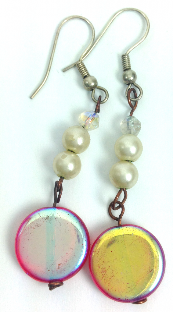 red and white circle drop earrings