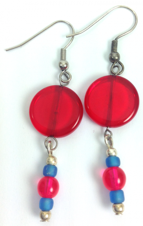 red blue circle drop earrings